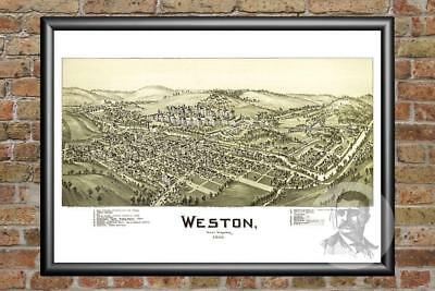 Old Map of Weston, WV from 1900 - Vintage West Virginia Art, Historic Decor