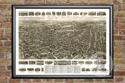 Old Map of Waterbury, CT from 1917 - Vintage Connecticut Art, Historic Decor