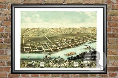 Old Map of Guttenberg, IA from 1869 - Vintage Iowa Art, Historic Decor