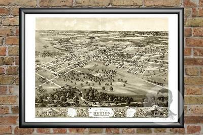 Old Map of Mexico, MO from 1869 - Vintage Missouri Art, Historic Decor