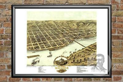 Old Map of Moline, IL from 1869 - Vintage Illinois Art, Historic Decor