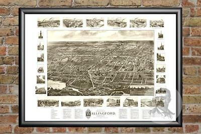 Old Map of Wallingford, CT from 1905 - Vintage Connecticut Art, Historic Decor