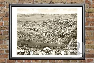 Old Map of Shelbyville, IL from 1869 - Vintage Illinois Art, Historic Decor