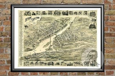 Old Map of Derby, CT from 1898 - Vintage Connecticut Art, Historic Decor