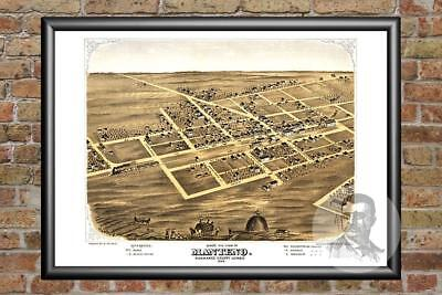 Old Map of Manteno, IL from 1869 - Vintage Illinois Art, Historic Decor