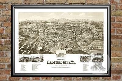 Old Map of Bedford City, VA from 1891 - Vintage Virginia Art, Historic Decor