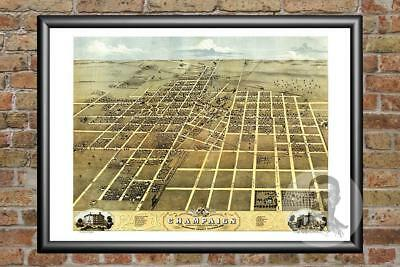 Old Map of Champaign, IL from 1869 - Vintage Illinois Art, Historic Decor