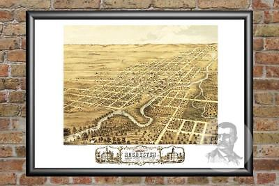Old Map of Rochester, MN from 1869 - Vintage Minnesota Art, Historic Decor
