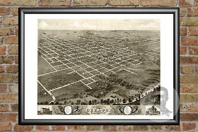 Old Map of Decatur, IL from 1869 - Vintage Illinois Art, Historic Decor