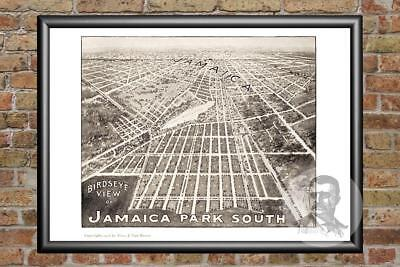 Old Map of Jamaica, NY from 1908 - Vintage New York Art, Historic Decor