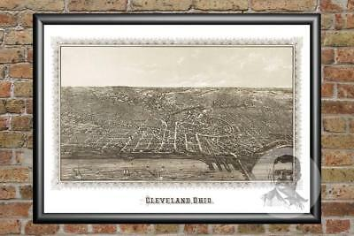 Old Map of Cleveland, OH from 1887 - Vintage Ohio Art, Historic Decor