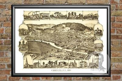 Old Map of Corning, NY from 1882 - Vintage New York Art, Historic Decor
