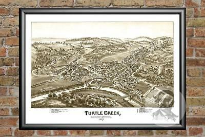 Old Map of Turtle Creek, PA from 1897 - Vintage Pennsylvania Art Historic Decor