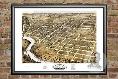 Old Map of Danville, IL from 1869 - Vintage Illinois Art, Historic Decor