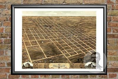 Old Map of Monmouth, IL from 1869 - Vintage Illinois Art, Historic Decor