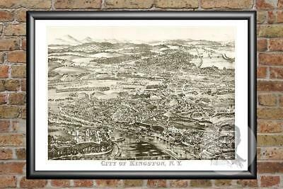 Old Map of Kingston, NY from 1875 - Vintage New York Art, Historic Decor