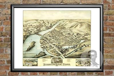 Old Map of Birmingham, CT from 1876 - Vintage Connecticut Art, Historic Decor