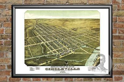 Old Map of Circleville, OH from 1876 - Vintage Ohio Art, Historic Decor