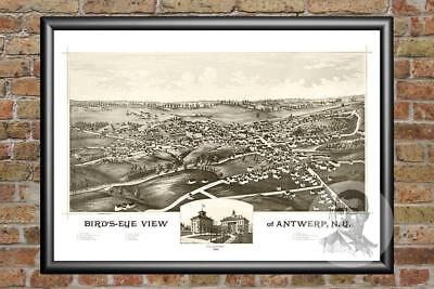 Old Map of Antwerp, NY from 1888 - Vintage New York Art, Historic Decor