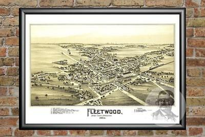 Old Map of Fleetwood, PA from 1897 - Vintage Pennsylvania Art, Historic Decor