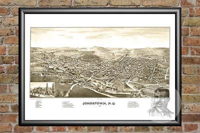 Old Map of Johnstown, NY from 1888 - Vintage New York Art, Historic Decor