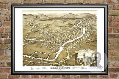 Old Map of Claremont, NH from 1877 - Vintage New Hampshire Art, Historic Decor