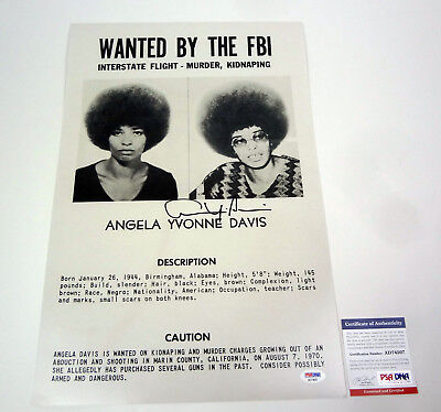 Angela Davis Wanted By The FBI Signed Autograph Photo Poster PSA/DNA COA