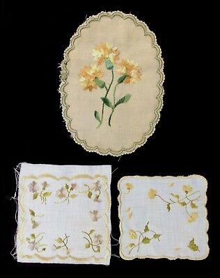"3 antique Society Silks embroideries: oval 9x6.5,"" pair of 5.5 x 5"", 1 untrimmed"