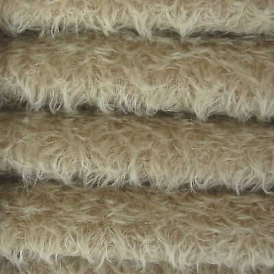 "1/4 yd 325S/CM Sand INTERCAL 5/8"" Semi-Sparse Curly Matted Mohair Plush Fabric"