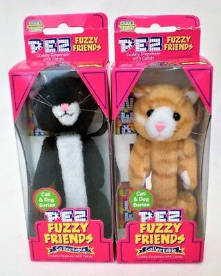 PEZ FUZZY FRIENDS CATS BOO & PUFF SLIGHTLY damaged packaging UNUSED