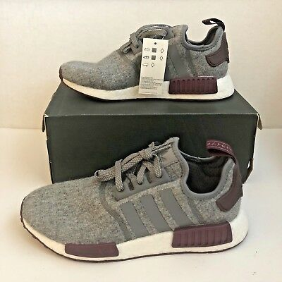 87f663a9de46e Adidas NMD R1 Boost Wool Grey Maroon White CQ0761 Champs Exclusive - Size 9
