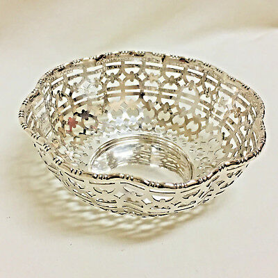 Vintage Mappin Webb Silver Plate Pierced Filigree Bowl Nut Candy Dish Sheffield