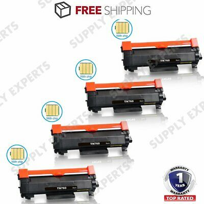 TN760 With Chip Toner Cartridge for Brother MFC-L2710DW L2750DW DCP-L2550DW Lot