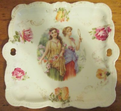 Antique Vintage PM Bavaria Handled Porcelain Tray Dish Hand Painted Portrait