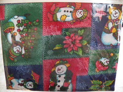 Table Accents CHRISTMAS TABLECLOTH 60 x 84 Snowman Poinsettia Tree NEW
