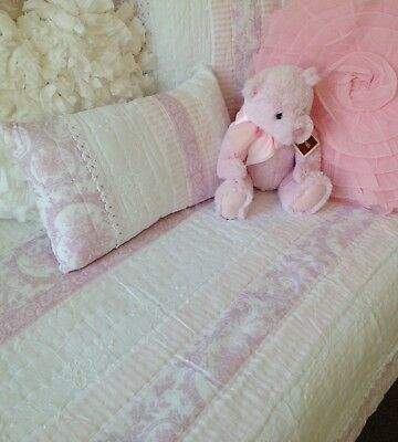 2 pce Juliet Pink Cot Quilt & Rectangle Cushion Baby Girls Nursery Floral Lace