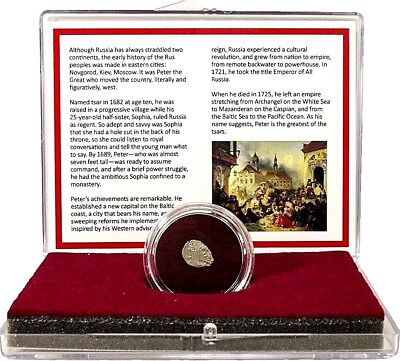 Russian Silver Wire Money Of Peter The Great Kopek Coin in Clear Box & Story-COA