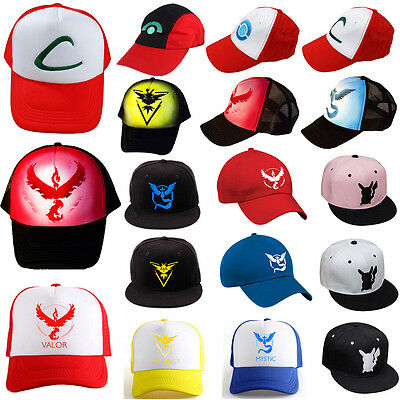 Pokemon Go Baseball Cap Ash Ketchum Team Mystic InstInct Valor Cosplay Flat Hats