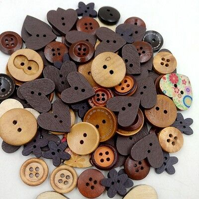 Assorted Mixed Wooden Buttons Retro Coffee Series Sewing Scrapbooking Craft DIY