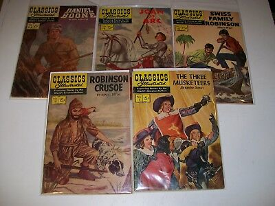 Classics Illustrated lot of 5 #1 10 42 78 96 later printings low/mid grade