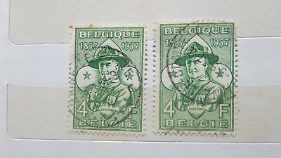 1957 Belgium Scouts 100th Anniversary 2 Stamps H