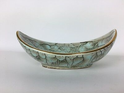 1950s Mid-Century Holland Turquoise Lt Blue Green DELFT Oval Bowl with Gold Trim