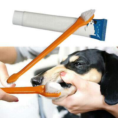 Vanilla Beef Flavor Pet Toothpaste Toothbrush Set Dogs Dental Care Cleaning Tool