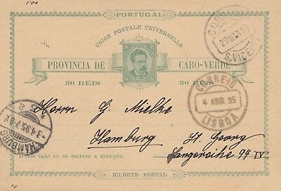 Cabo Verde: 1895: post card to Hamburg-St. Georg