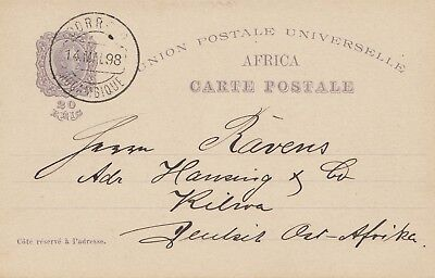 Mocambique 1898: post card to Kilwa/DOA, Deutsch Ost Afrika