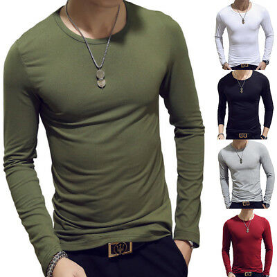 Men's Slim Fit Crew Neck Long Sleeve Casual Muscle Tee T-shirts Tops Pullover