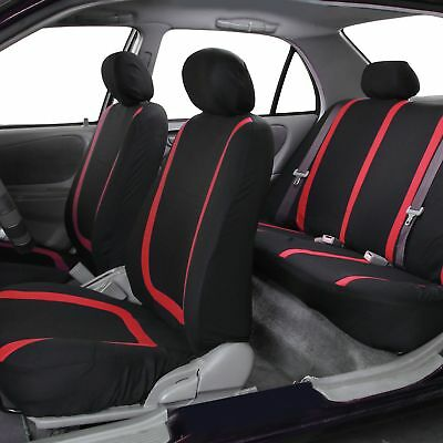 Five-seat Car Comfortable Seat Cover Red PVC Front Rear Cushion Mat Universal