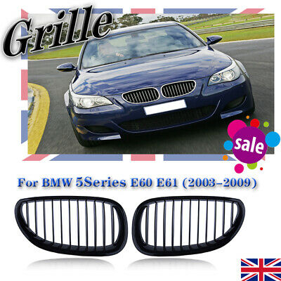FOR 03-09 BMW E60 E61 5 Series M5 Front Kidney Grill Grille Gloss Black Pair UK