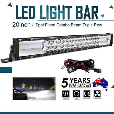 20inch Cree LED Work Light Bar Spot Flood Offroad 4WD 4x4 Truck SUV UTE Wiring