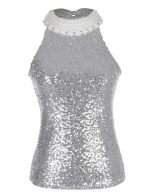 UK Women S/M Fit Silver Sequin Embellished Pearl and Crochet Lace Trim Top